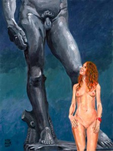 VIENNA COMPARING HER BEAUTY WITH MICHELANGELO'S DAVID. VIENNA WINS by Pictor Mulier