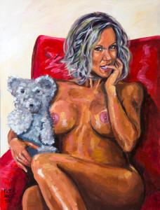 BRANDI LOVE CRADLING HER TEDDY BEAR by Pictor Mulier