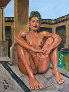 JOVEN ROMANA EN LAS TERMAS DE BATH, pintura erótica de Pictor Mulier