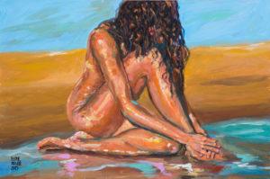 Rosa descansando en la playa de Pictor Mulier